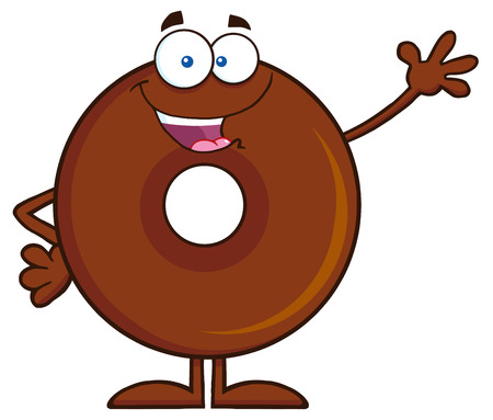 cute chocolate: Cute Chocolate Donut Cartoon Character Waving. Illustration Isolated On White
