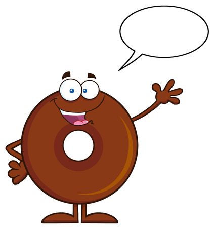 cute chocolate: Cute Chocolate Donut Cartoon Character Waving. Illustration Isolated On White With Speech Bubble