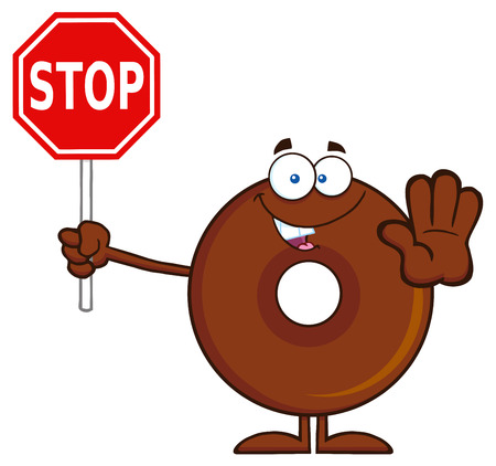 Smiling Chocolate Donut Cartoon Character Holding A Stop Sign. Illustration Isolated On White Illustration