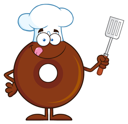 slotted: Chocolate Chef Donut Cartoon Character Holding A Slotted Spatula. Illustration Isolated On White Illustration