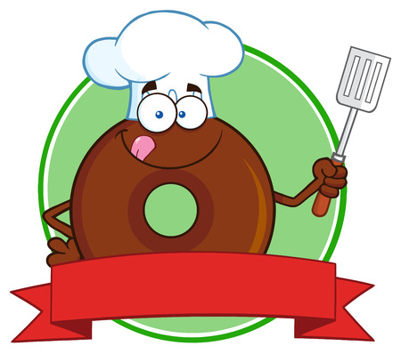 tasteful: Chocolate Chef Donut Cartoon Character Circle Label.  Illustration Isolated On White