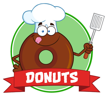 Chocolate Chef Donut Cartoon Character Circle Label With Text. Illustration Isolated On White