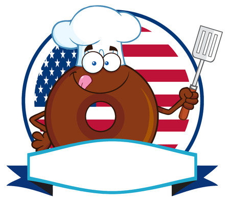 Chocolate Chef Donut Cartoon Character Over A Circle Blank Label In Front Of Flag Of USA. Illustration Isolated On White