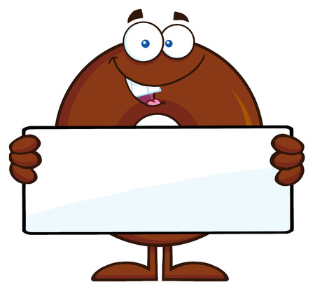 Chocolate Donut Cartoon Character Holding a Blank Sign. Illustration Isolated On White
