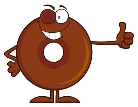 Winking Chocolate Donut Cartoon Character Giving A Thumb Up. Illustration Isolated On White