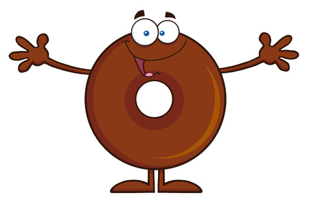 wanting: Chocolate Donut Cartoon Character Wanting A Hug. Illustration Isolated On White Illustration