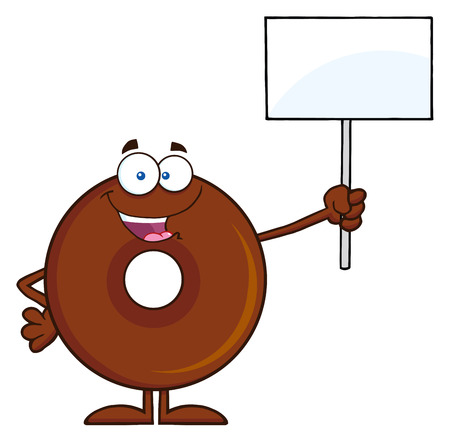 Happy Chocolate Donut Cartoon Character Holding Up A Blank Sign. Illustration Isolated On White