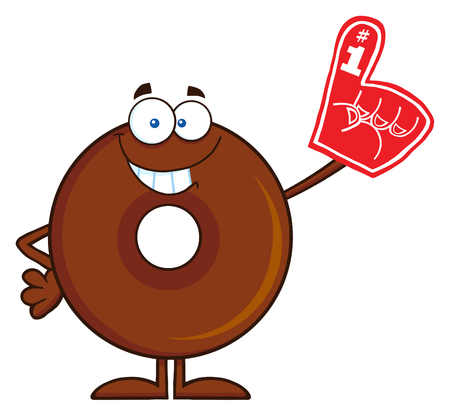 Smiling Chocolate Donut Cartoon Character Wearing A Foam Finger. Illustration Isolated On White Illustration