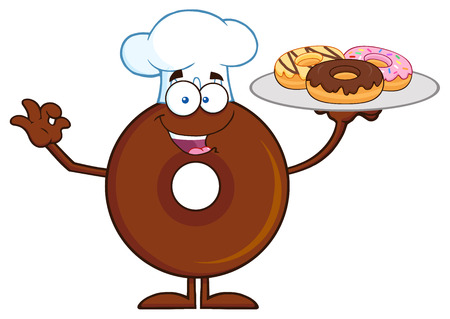 Chef Chocolate Donut Cartoon Character Serving Donuts. Illustration Isolated On White