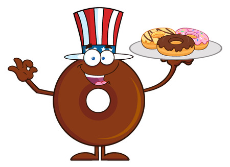 American Chocolate Donut Cartoon Character Serving Donuts. Illustration Isolated On White