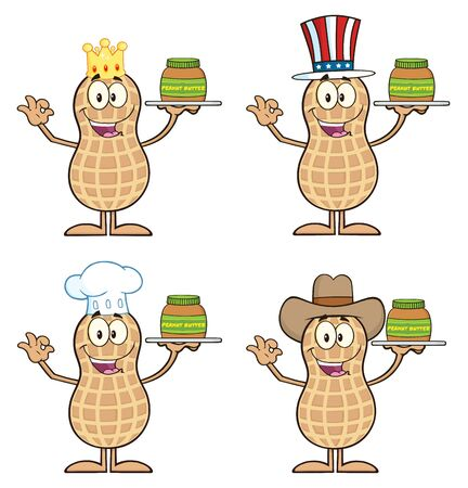 Peanut Cartoon Character 2. Collection Set Isolated On White photo