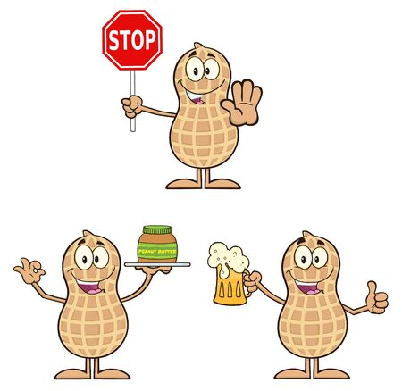 peanut: Peanut Cartoon Character 4. Collection Set Isolated On White Stock Photo