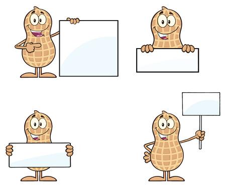 cacahuate: Peanut Cartoon Character Set 5. Colección Aislado En Blanco
