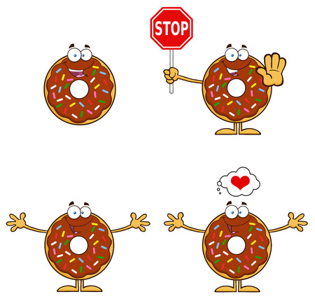 Chocolate Donut Cartoon Character With Sprinkles 3. Collection Set Isolated On White