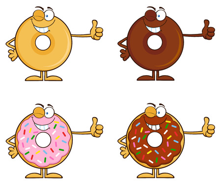 Four Cute Donuts Cartoon Character 5. Collection Set Isolated On White photo