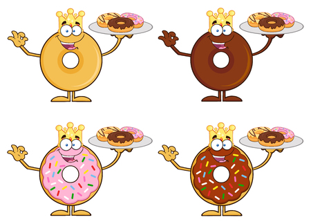 donut: Four Cute Donuts Cartoon Character 10. Collection Set Isolated On White