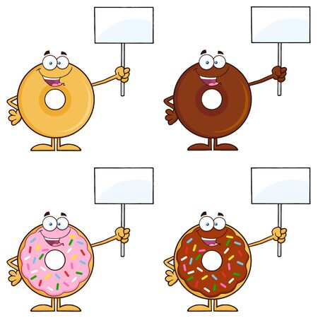 tasteful: Four Cute Donuts Cartoon Character 14. Collection Set Isolated On White