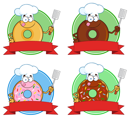 Donut Cartoon Character Circle Label 5. Collection Set Isolated On White