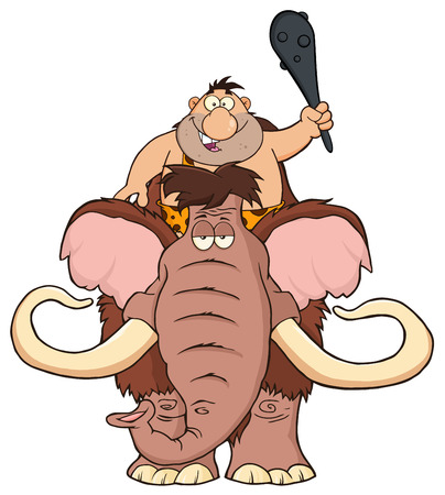 caveman: Happy Caveman Over Mammoth. Illustration Isolated On White