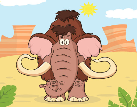 furry animals: Woolly Mammoth Cartoon Character With Background Stock Photo