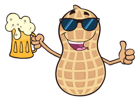 Funny Peanut Cartoon Character Holding A Beer And Thumb Up Reklamní fotografie