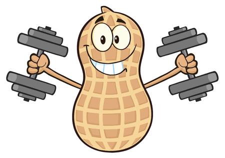 Peanut Cartoon Mascot Character Training With Dumbbells