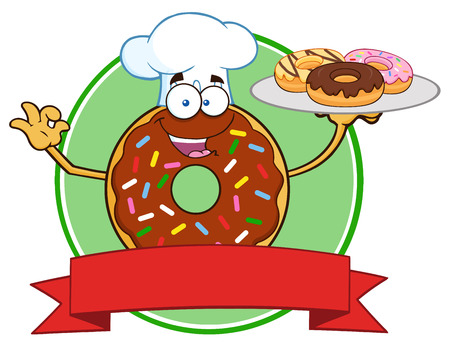 sprinkles: Chef Chocolate Donut Character With Sprinkles Serving Donuts Circle Label Stock Photo