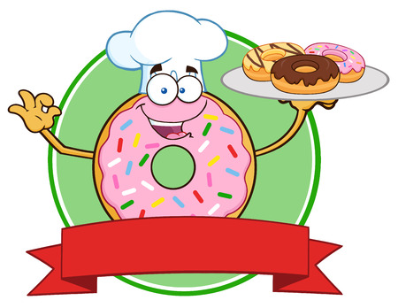 tasteful: Chef Pink Donut Character Serving Donuts Circle Label