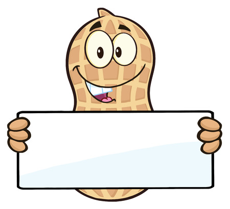monkey nuts: Funny Peanut Cartoon Character Holding A Blank Sign Stock Photo
