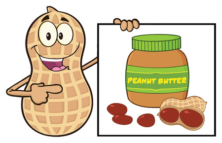 primate biology: Peanut Cartoon Mascot Character Showing A Banner With Peanut Butter Jar