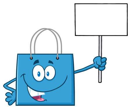 bag cartoon: Blue Shopping Bag Cartoon Character Holding Up A Blank Sign Stock Photo