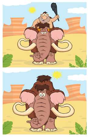 mammoth: Caveman And Mammoth. Collection Set Stock Photo