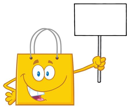 offer: Yellow Shopping Bag Character Holding Up A Blank Sign Stock Photo