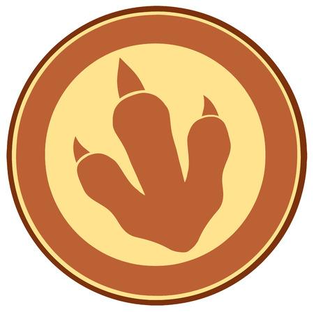 mesozoic: Dinosaur Brown Paw Print Circle Label Design