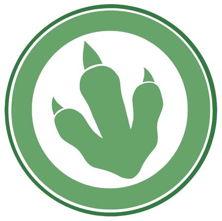 Dinosaur Green Paw Print Circle Label