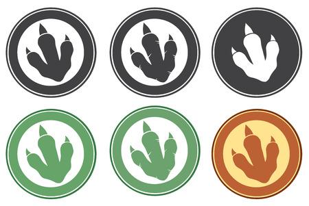 恐竜: 恐竜足跡円ラベル デザイン コレクション