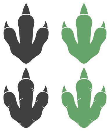 dinosauro: Dinosaur Footprint. Illustrazione Con Raccolta Testo Archivio Fotografico