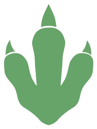 Dinosaure vert Paw Print. Illustration isolé sur blanc