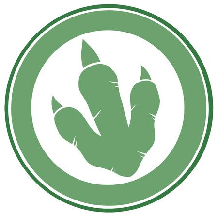 Dinosaur Green Footprint Circle Label Design