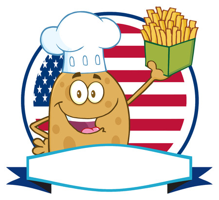 batata: Chef Potato Character Over A Circle Blank Banner In Front Of Flag Of USA Stock Photo