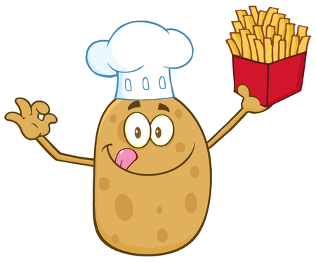 gesturing: Chef Potato Character Gesturing Ok And Holding Fries