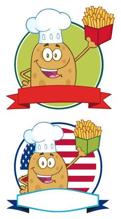 cocina caricatura: Chef patata Banners C�rculo de personaje de dibujos animados Foto de archivo