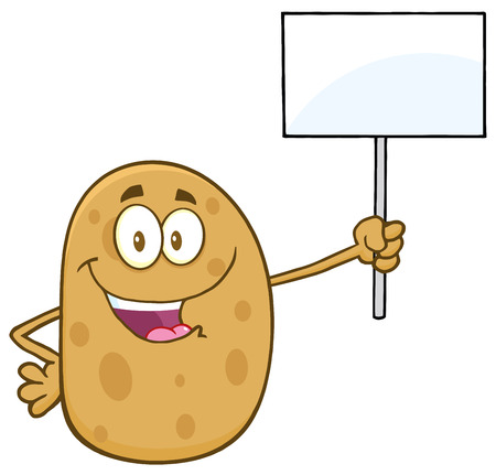 Happy Potato Cartoon Character Holding Up A Blank Sign Stock Photo