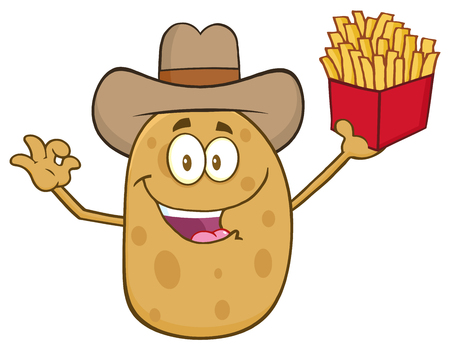 ojos caricatura: Cowboy Potato Character Gesturing Ok And Holding A French Fries Foto de archivo
