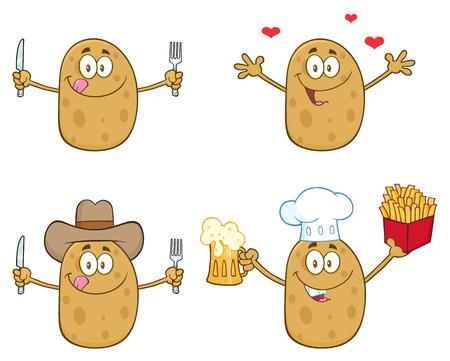 Potato Cartoon Mascot Karakter 4. Collection Set