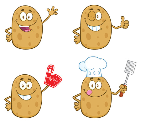 batata: Potato Cartoon Mascot Character 1. Collection Set Stock Photo