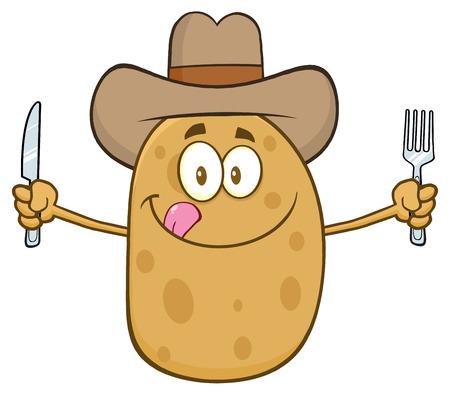 aliments droles: Cartoon pomme de terre Cowboy caractère avec couteau et fourchette