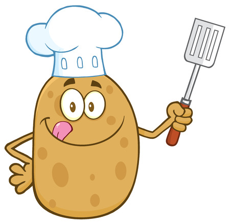 Chef Potato Character Licking His Lips And Holding A Spatula