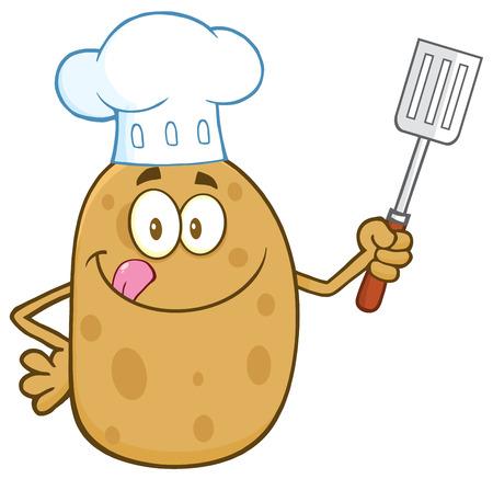 Chef Potato Karakter Likken zijn lippen en Holding een spatel
