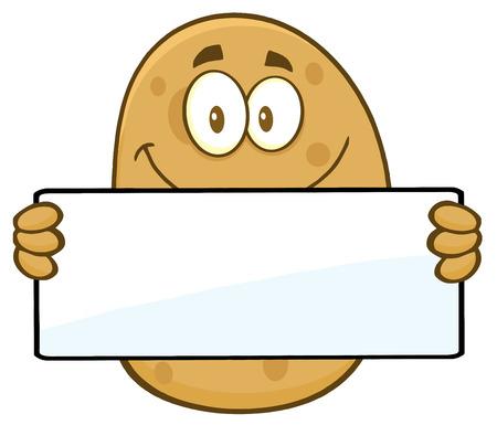 Potato Cartoon Character Holding A Blank Sign